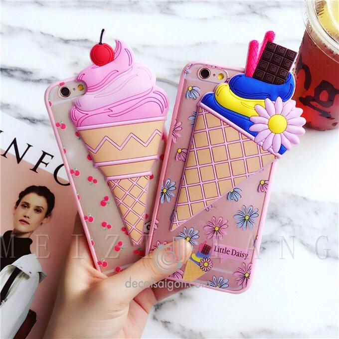 Ốp que kem nổi 3D xinh lung linh cho Iphone 5 6 6s 7 7s